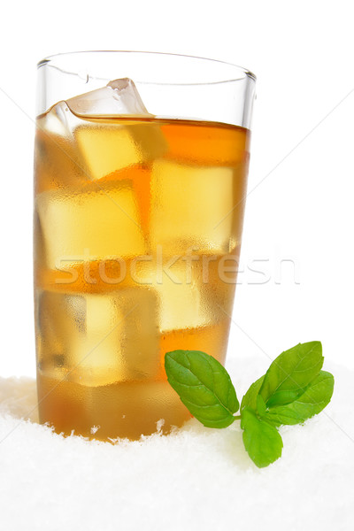 Ice tea with ice cubes,mint on ice on white Stock photo © dla4