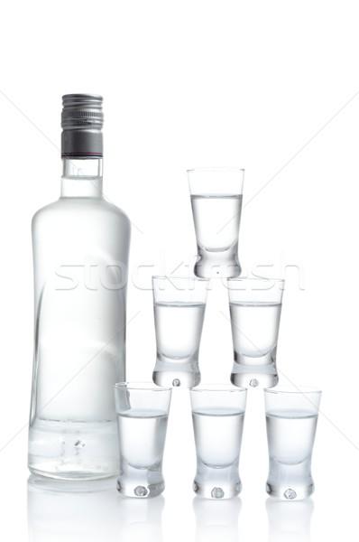 Fles veel bril wodka geïsoleerd witte Stockfoto © dla4
