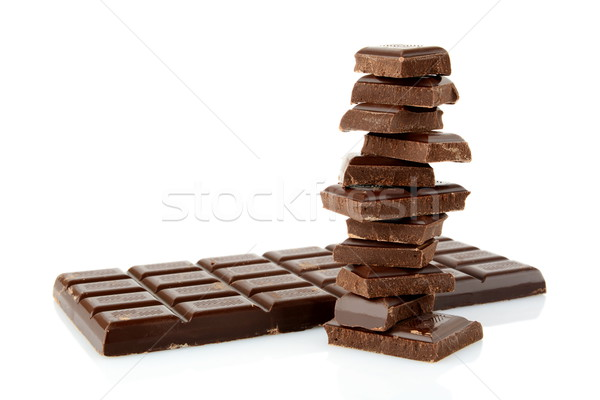 Foto stock: Bloques · blanco · aislado · alimentos · chocolate