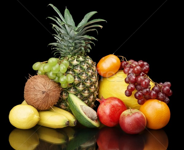 Group of many fruits-grapes,pomegranate,avocado isolated on blac Stock photo © dla4