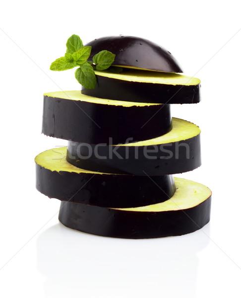 Sliced aubergine, eggplant arranged stack, pile isolated white Stock photo © dla4