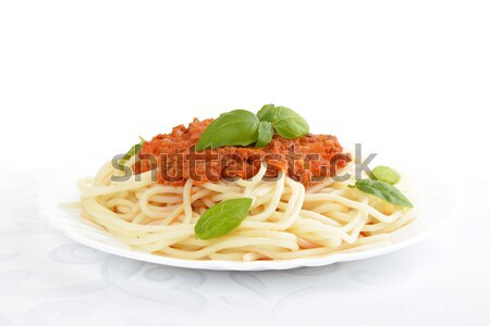 Spaghetti ragu bolognese sauce on white,close up Stock photo © dla4