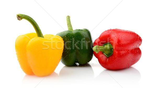 Três diferente pimenta isolado branco comida Foto stock © dla4