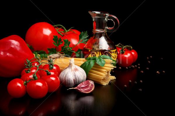 подготовка спагетти черный листьев перец Сток-фото © dla4