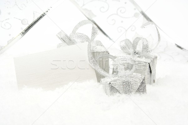 Silver christmas decoration on snow with wishes card Stock photo © dla4