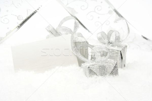 Foto stock: Plata · Navidad · decoración · nieve · tarjeta