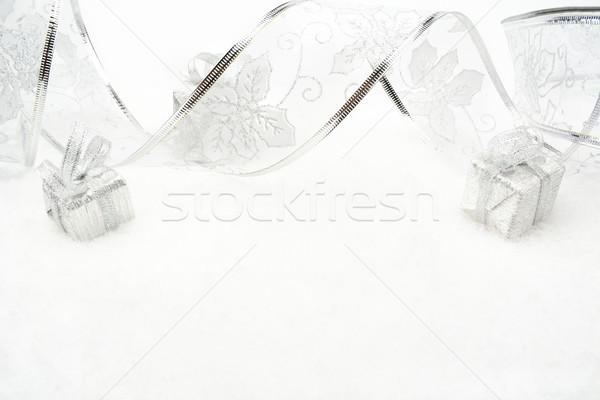 Ezüst karácsony ajándékok szalag hó dekoráció Stock fotó © dla4