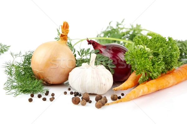 Onion,red onion,dill,parsley,pepper,garlic,carrots on white Stock photo © dla4