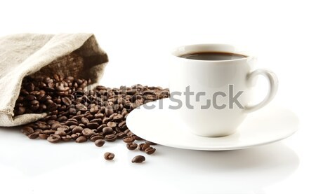 Cup of coffee with saucer with leaf on white Stock photo © dla4