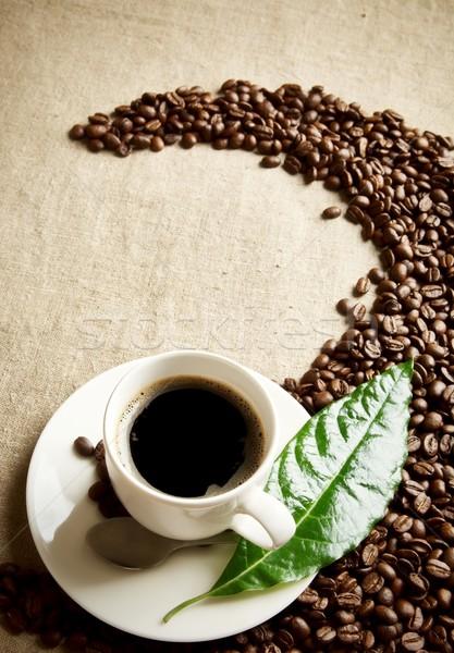 Taza de café frijoles remolino textiles granos de café taza Foto stock © dla4