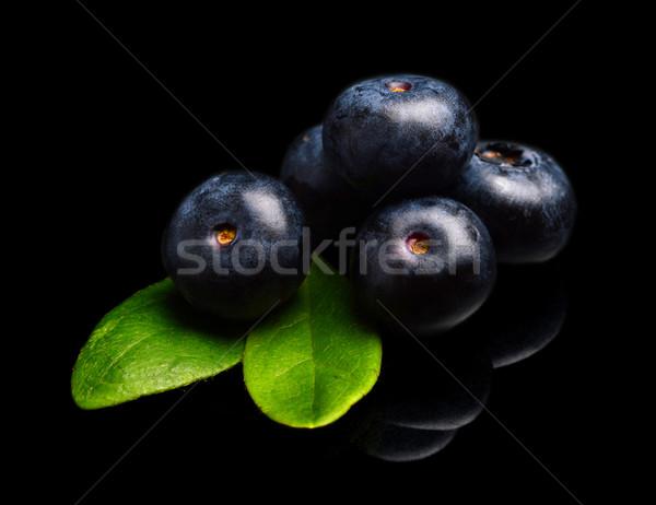 Macro closeup view blueberries leaves isolated black Stock photo © dla4