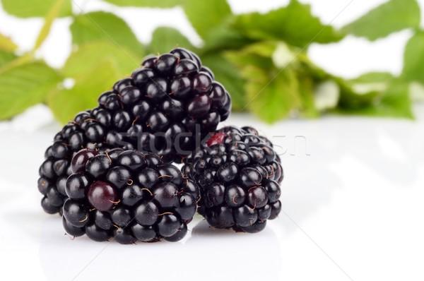 Studio shot of three fresh blackberries with leaves in background  Stock photo © dla4