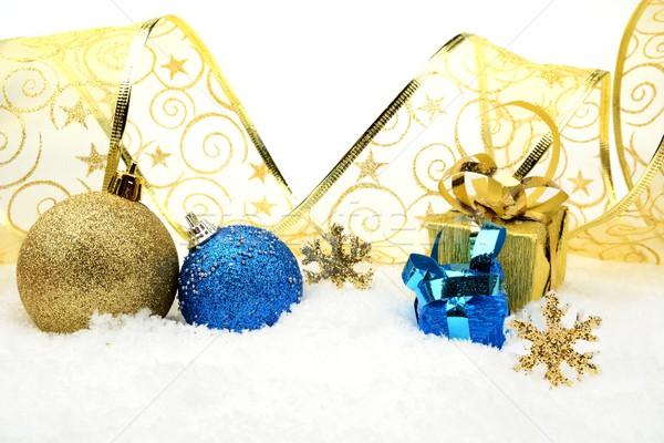 Dourado azul natal decoração neve presentes Foto stock © dla4
