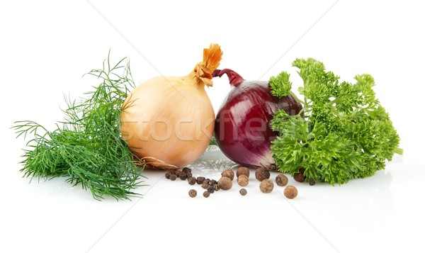 Onion,red onion,dill,parsley,pepper isolated on white Stock photo © dla4