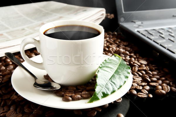 Brewed coffee with laptop,newspaper,coffee leaf at breakfast Stock photo © dla4