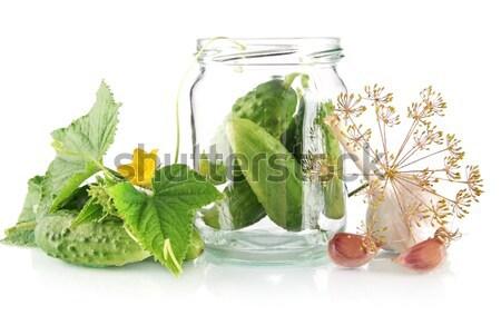 Jar blanche fleur fleurs isolé alimentaire Photo stock © dla4