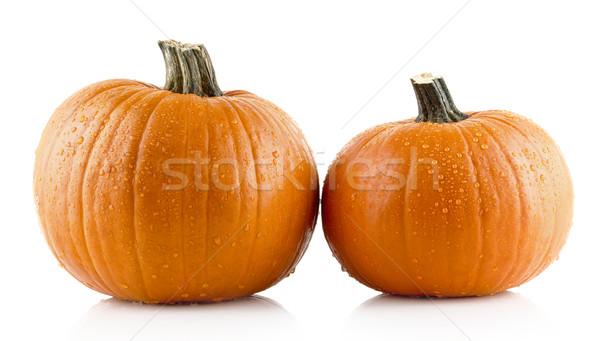 Closeup shot of beaded pumpkins isolated on white Stock photo © dla4