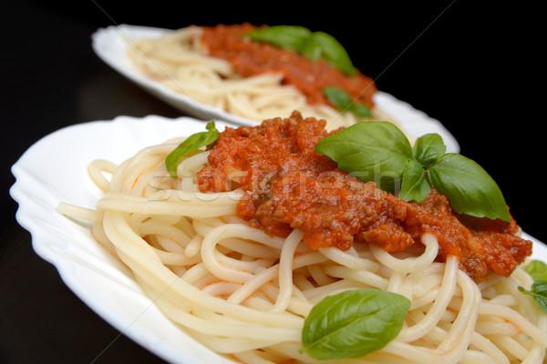 спагетти соус болоньезе вверх черный лист пасты Сток-фото © dla4