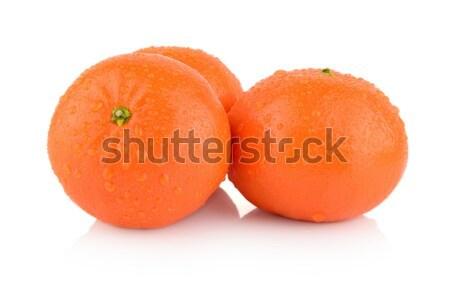 Studio shot dewy few mandarines isolated on white Stock photo © dla4