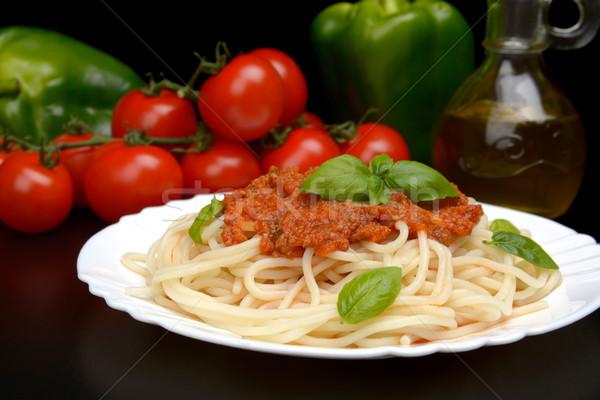 Сток-фото: пасты · спагетти · соус · болоньезе · черный · лист · нефть