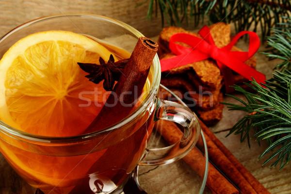 Christmas tee with anise, orange during christmas Stock photo © dla4