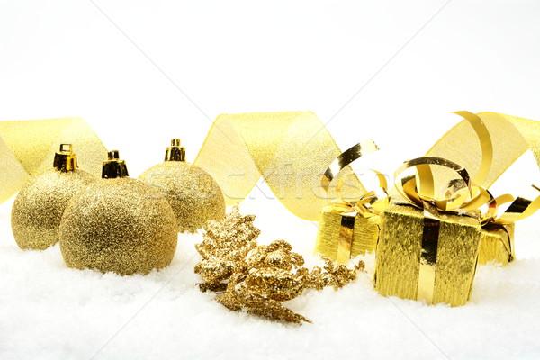 Arany karácsony szalag dekoráció hó háttér Stock fotó © dla4
