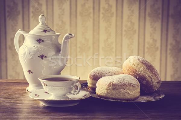 Taca kubek kawy trzy tapety Zdjęcia stock © dla4