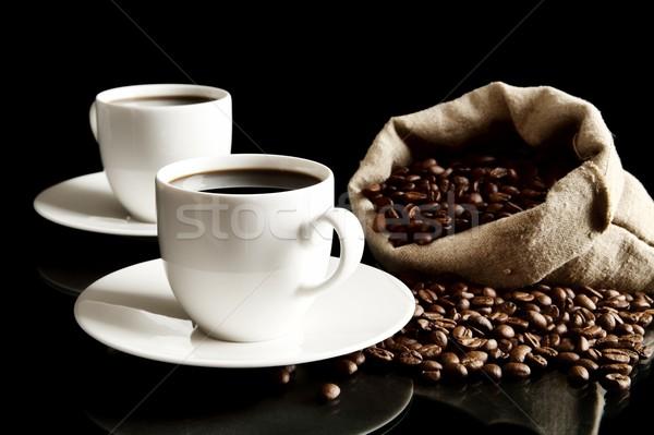 Csészék kávé csészealj táska kávé fekete Stock fotó © dla4