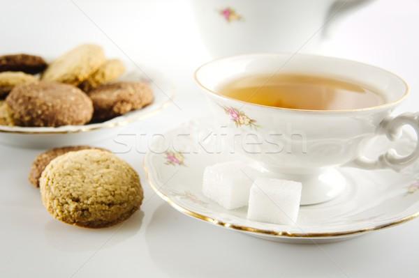 Shot ketel beker thee cookies voorgrond Stockfoto © dla4