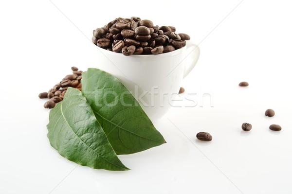 Koffiekopje vol koffiebonen groene koffie bladeren Stockfoto © dla4