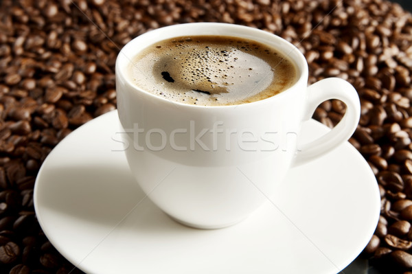 Macro shot of coffee cup with foam at breakfast Stock photo © dla4