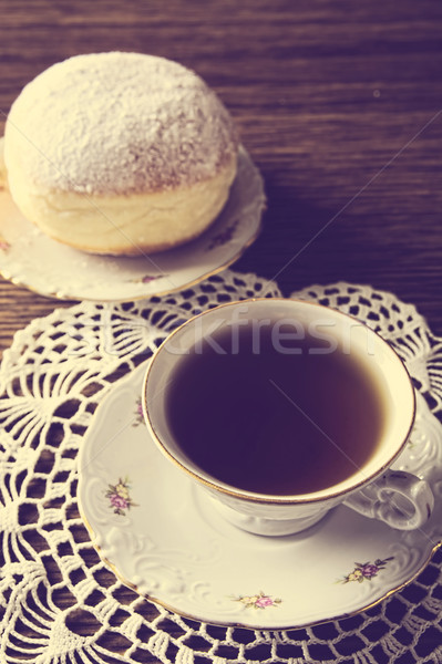 Donut Tasse Tee Zimmer Serviette Donut Stock foto © dla4