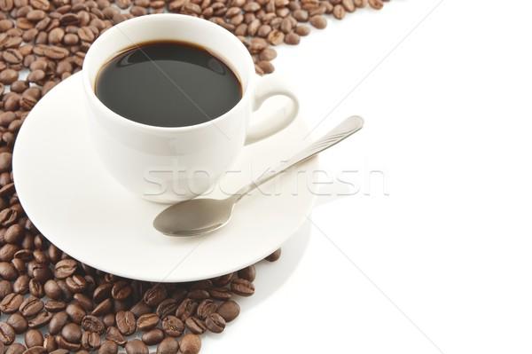 Stockfoto: Lijn · koffiebonen · beker · koffie · witte · frame