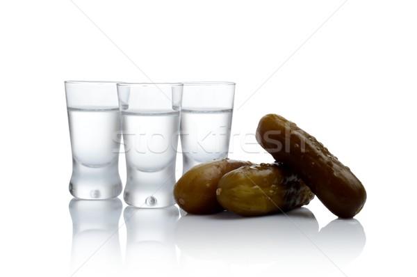 Veel bril wodka komkommers geïsoleerd witte Stockfoto © dla4