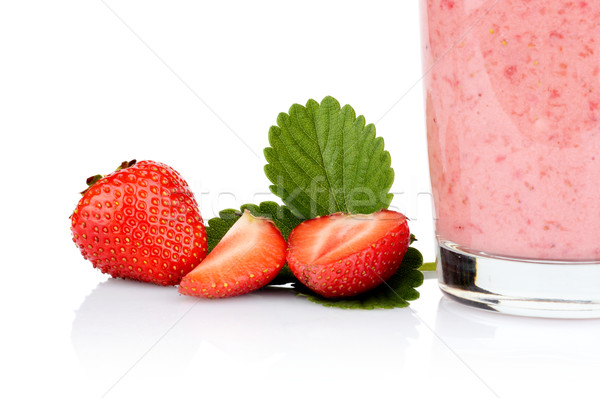 Cropped photo several sliced strawberries leaf juice isolated Stock photo © dla4