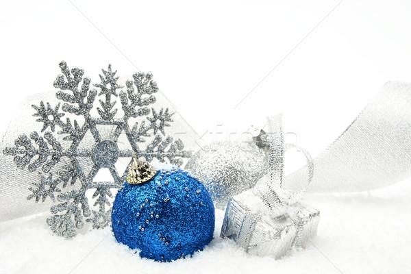 Foto stock: Plata · azul · Navidad · brillante · cinta · nieve