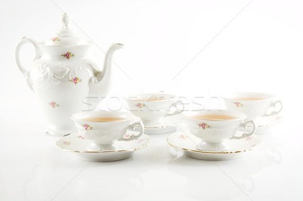 Vintage вечеринка чайник четыре чай Сток-фото © dla4