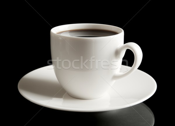Cup of coffee with saucer on black Stock photo © dla4
