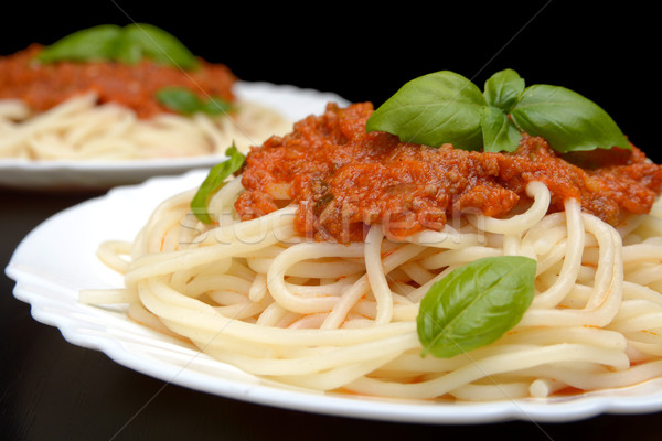 Close up pasta ragu alla bolognese sauce on black Stock photo © dla4