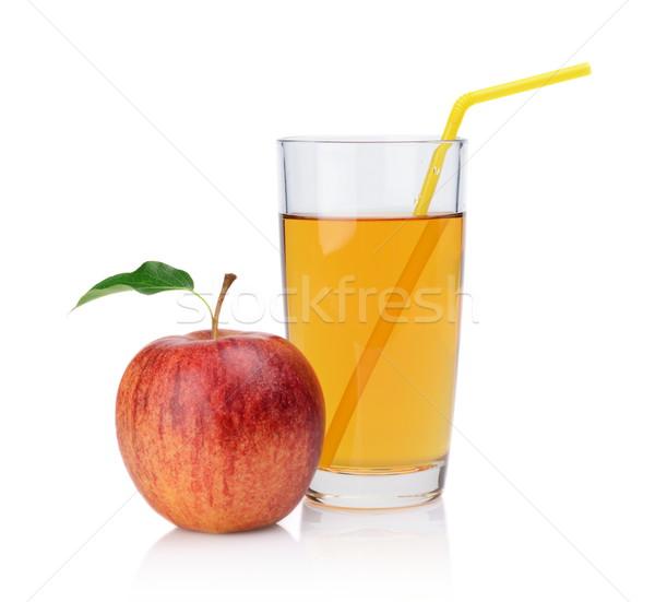 Primer plano tiro todo manzana roja jugo paja Foto stock © dla4