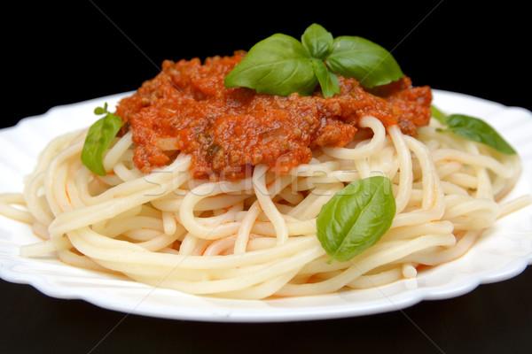 спагетти соус болоньезе черный лист пасты пластина Сток-фото © dla4
