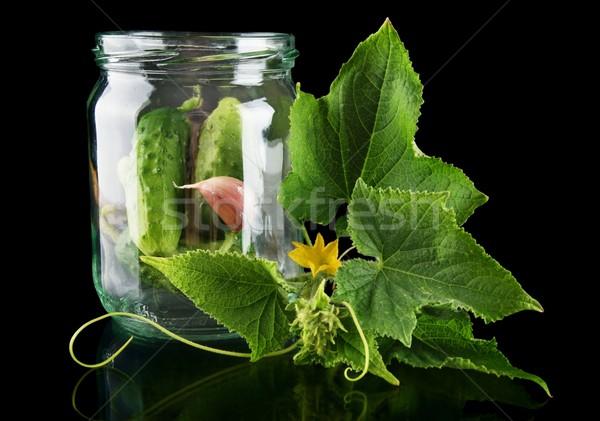 банку черный цветок цветы изолированный продовольствие Сток-фото © dla4