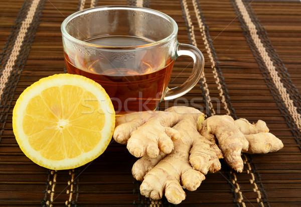 Foto stock: Jengibre · té · marrón · limón · beber · taza