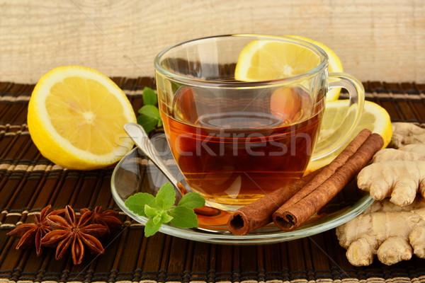 Gengibre marrom limão de tabela beber Foto stock © dla4