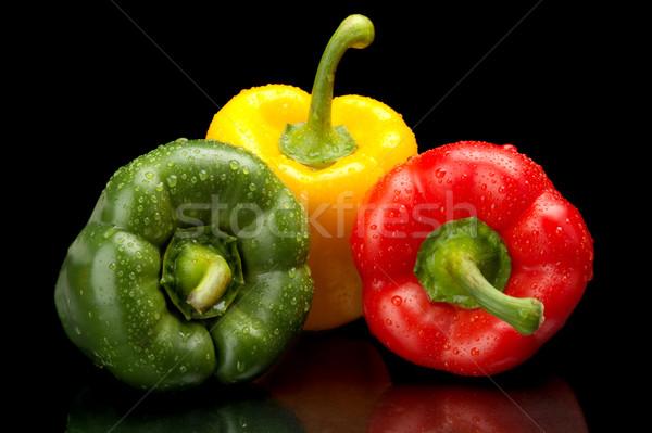 Harang paprikák izolált fekete zöld piros Stock fotó © dla4