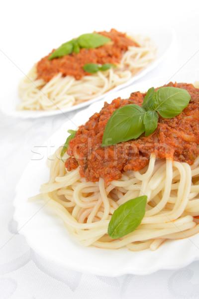 спагетти соус болоньезе вверх белый пасты пластина Сток-фото © dla4
