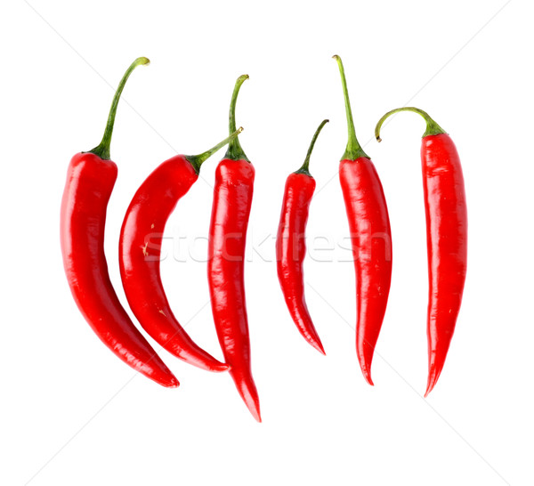 Top view of red peppers isolated white background Stock photo © dla4