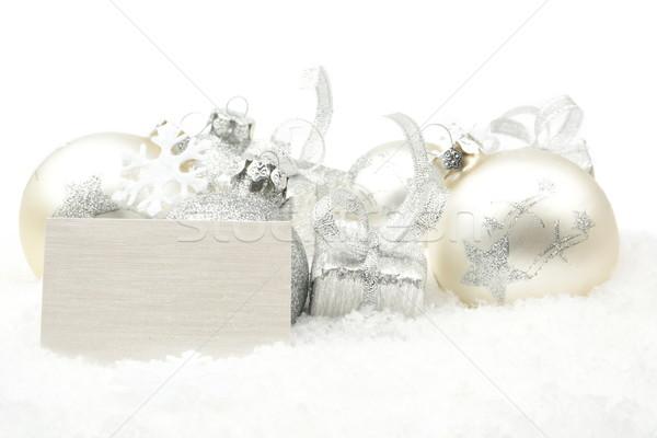 Gümüş Noel dekorasyon kar kart Stok fotoğraf © dla4