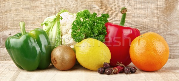 Group of vegetables and fruits full of vitamin C Stock photo © dla4