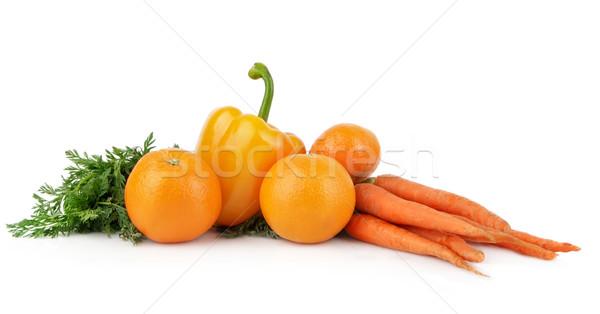 Coleção amarelo laranja legumes frutas branco Foto stock © dla4